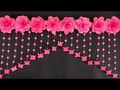Hanging Paper Flowers, Paper Flowers Craft, Paper Flower Wall, Flower Crafts, Paper Flower Backdrop Wedding, Fabric Flowers, Door Hanging Decorations, Diy Birthday Decorations, Flower Decorations