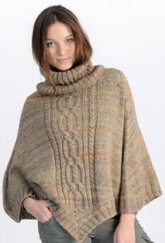 Tone in tone marled ladies poncho with delightful cable pattern, knit from Schachenmayr original Aventica