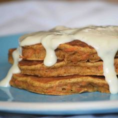 Whole Wheat Carrot Cake Pancakes w/ Cream Cheese Syrup