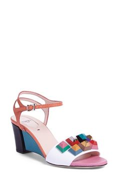 Fendi 'Rainbow' Colorblock Studded Sandal