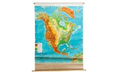 Mid-Century North America Pull Down Map - Old New House® Pull Down Map, North America Map, Old And New, Vibrant Colors, New Homes, Typography, Mid Century, Awesome, 1960s