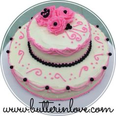 Pink and Black Tiered Cake - Buttercream Roses