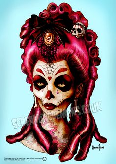 "Day of the Dead 'Pink Death' Art Print by Marcus Jones 11.5"" x 8"" approx. $13.00, via Etsy."