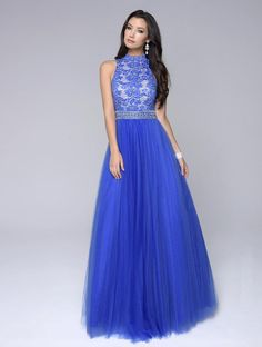 2016 Sleeveless Open Back Royal Blue Beads A-line High-neck Black Tulle Floor Length Homecoming / Prom Dresses By NC 1247