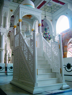 The movable marble minbar at Mecca Sharif created by Saray Design