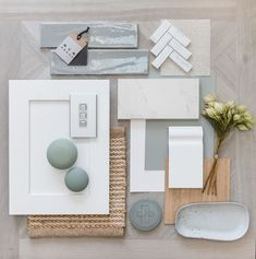 Have you thought about switches for your new home? Here's a classic flat lay showcasing the Iconic Styl Silver skin, compatible… Mood Board Interior, Interior Design Boards, Home Interior, Interior Decorating, Coastal Interior, Moodboard Interior Design, Küchen Design, House Design, Design Ideas