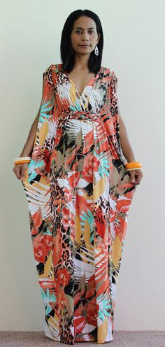 Long Kimono Maxi Dress African Print Dress : Elegant by Nuichan African Maxi Dresses, Ankara Dress, African Attire, African Wear, Printed Gowns, Long Kimono, Fashion Mode, Dress Up, Kimono Dress