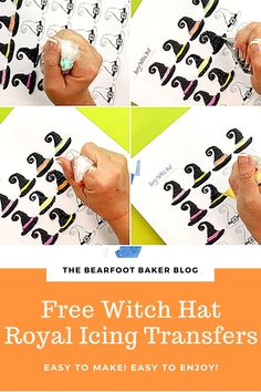 This FREE royal icing transfer template will teach you how to make cute little witch hats for Halloween cookies! Just add to a cookie of any simple shape to instantly create beautiful Halloween cookies! #thebearfootbaker #halloween #halloweentreatideas #halloweencookies