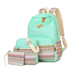 Hot Printing Backpacking Backpacks For Teenage Girls Strips School Bag Set  Cute Middle School Girl Bags 8a9402cf00