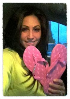 Tracy from Jerseylious supporting our GO PINK flops for breastcancer.org!