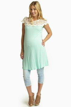 Mint-Green-Lace-Top-Maternity-Tunic