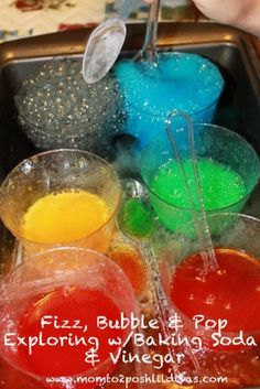 Fizzy, bubbling, popping fun!  The magic of mixing vinegar and baking soda will keep kids in awe.