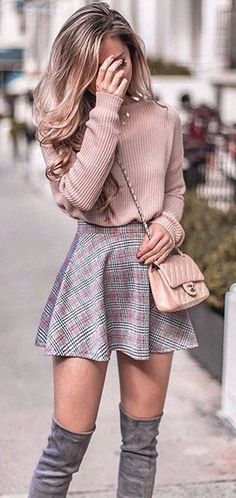 Pastel pink knit sweater, skater skirt and over the knee boots outfit for fall. … Pastel pink knit sweater, skater skirt and over the knee boots outfit for fall. Same sweater in link! Cute Skirt Outfits, Winter Skirt Outfit, Cute Casual Outfits, Cute Summer Outfits, Girly Outfits, Mode Outfits, Skater Skirt Winter, Skater Skirt Outfits, Outfit With Skirt