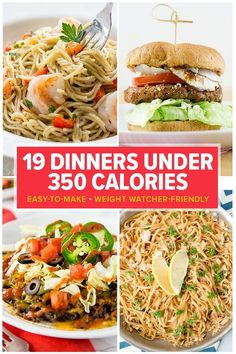 19 Dinners Under 350 Calories. From filling pastas and burgers to chicken and spicy mexican dishes — you'll love these 19 Weight Watcher friendly dinner recipes that are filling and delicious. low calorie meals 19 Dinners Under 350 Calories Healthy Low Calorie Meals, No Calorie Foods, Low Calorie Recipes, Healthy Dinner Recipes, Diet Recipes, Under 300 Calorie Meals, Filling Low Calorie Meals, Recipe With Calorie Count, Easy Low Calorie Dinners