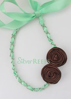 Mint & Brown Satin Flower Necklace Infant Toddler Adult by SilverReefs Satin Flowers, Fabric Flowers, Fabric Flower Necklace, Crochet Necklace, Beaded Necklace, Infant Toddler, Mint, Bridesmaid, Chain