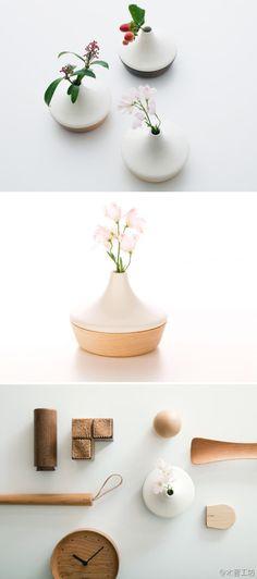 美麗的木瓷花瓶,Flower base ...