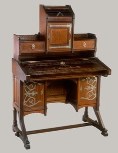 Oak desk with nickel-plated brass and iron hardware by Kimbel & Cabus, ca. 1877