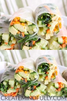 Vegetable Spring Rolls with Peanut Sauce (vegan, gluten free) - These fresh Vietnamese spring rolls are a quick easy meal. The peanut sauce is to die for! Thai Spring Rolls, Vegan Spring Rolls, Vegetable Spring Rolls, Vietnamese Spring Rolls, Fresh Spring Rolls, Vegetarian Spring Rolls, Fresh Rolls, Easy Vegetable Recipes, Raw Food Recipes