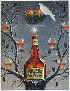 """Grand Marnier Liqueur, 1985 , originally uploaded by Gatochy . Scanned from Taschen's """"American Ads of the . Click image 687 x 891 size. Vintage Advertising Posters, Vintage Advertisements, Vintage Ads, Grand Marnier, Retro, Vintage Signs, Whiskey Bottle, Red Wine, Beverage"""