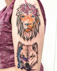 Watercolor lion and wolf by Valley Ink