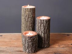Tree Branch Candle Holders Set of 3 Heights- Rustic Wood Candle Holders, Tree Bark, Wooden Candle Holders on Etsy, $18.50