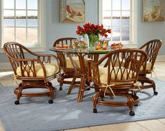 Rattan and Wicker Dining Sets | Wicker Chairs | Rattan Tables | Wicker Dining Furniture | Tropical Dining Set | Honeymoon Kitchen Dining Suite | Florida Dinette Set for the beach