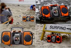 The Eco Terra BoomBox is a floating iPhone/MP3 waterproof player that is fully submersible in water. It features two large waterproof stereo speakers that play a clean, crisp sound and is powered by 4 batteries or an included AC wall charger.