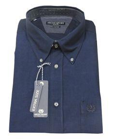 Camicia ascot sport 15852 blu uomo manica lunga taglie forti 3xl 4xl 5xl 6xl