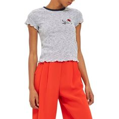 Women's Topshop Love Affair Embroidered Tee (€26) ❤ liked on Polyvore featuring tops, t-shirts, navy blue multi, navy tee, navy stripe t shirt, red striped t shirt, embroidered top and navy t shirt