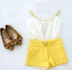 Girls Summer Sleeveless Lace White T-shirt + Short Yellow Pants Children Suits