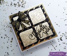Square side fold card made using Sara Signature Black and Gold collection -  designed by Angela Blaney #crafterscompanion