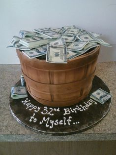 Barrel of money cake with edible $100 bills