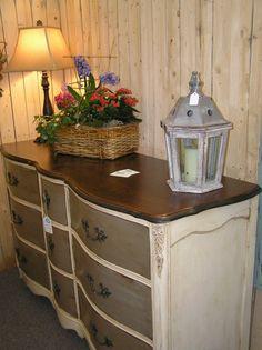 Vintage Solid Cherry French Serpentine 9 Drawer Dresser by HueNew, $650.00