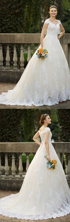 Ball Gown Queen Anne Cathedral Train Lace Over Tulle Wedding Dress with Beading Appliques by LAN TING BRIDE®