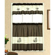 Coffee Embroidery Tiered Curtain Set 3 Piece