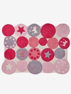 Kinderteppich mit Kronen und Kreisen - ROSA - 1