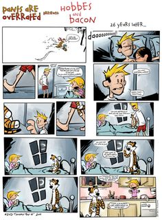 Hobbes and Bacon- I used to read Calvin and Hobbes all the time. This makes me sad that he is grown up and responsible now! Calvin Y Hobbes, Hobbes And Bacon, Comic Art, Comic Books, Fun Comics, Hobbs, Comic Strips, Memes, Cartoon Characters