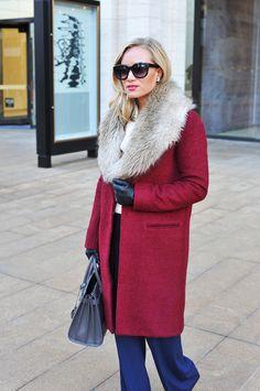 Red Coat + Fur Collar