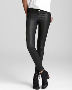 ShopStyle: Current/Elliott Leather Jeans - The Zip Skinny in Black