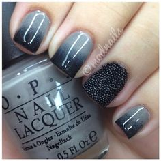 "Grey & black gradient (by modnails). Gray is OPI's ""French Quarter For Your Thoughts."" Black is OPI's ""Black Onyx."" Caviar accent nail is Recollection's black microbeads bought at Michael's Craft Store"