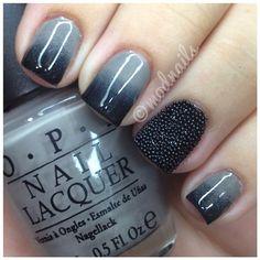gradient gray caviar nail art