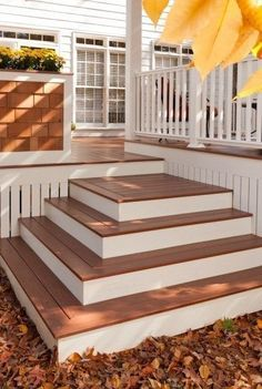 Learn how to build a set of box platforms to act as stairs for a low deck. You don''t even need to cut stair stringers. #deckbuildingcost #deckcost