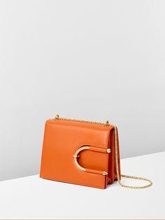 Orange calf leather and gold chain #ChokerBag for #MuglerFallWinter