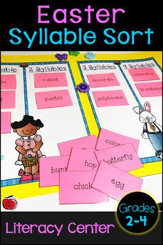 Syllable sort literacy center with an Easter theme. Students will sort 30 Easter vocabulary words by the number of syllables the word has. This low prep literacy center is ideal for 2nd grade, 3rd grade, and 4th grade students. An engaging language art center that is easy to differentiate. Create it as a file folder center or store in an envelope or baggie.  #syllablesort #syllables #literacycenter #Easter Teaching Activities, Art Activities, Teaching Resources, Teaching Ideas, Classroom Resources, English Language Arts, Syllable, Student Reading, Vocabulary Words