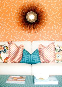 I love mixing geometric with botanical print!! 25 Pretty Patterned Interiors via Brit + Co.