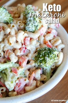 The perfect side dish for burgers off the grill, pork steaks, or smoked ribs, Keto Macaroni Salad is made with red peppers, broccoli, avocado oil mayo, and low carb noodles. An indulgent side dish for summer! Burger Side Dishes, Low Carb Side Dishes, Side Dish Recipes, Rib Side Dishes, Recipes Dinner, Salad Recipes, Keto Recipes, Healthy Recipes, Game Recipes