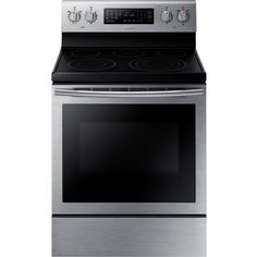 Shop Samsung cu ft Electric Range with Self Cleaning Steam Convection Oven (Stainless Steel) at Lowe's Canada online store. Find Electric Ranges at lowest price guarantee. Convection Stove, Convection Cooking, Home Depot, Double Oven Electric Range, Ranger, 5 Elements, Stainless Steel Oven, Cooking Appliances, Kitchen Appliances