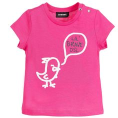 Diesel - Baby Girls Bright Pink T-Shirt | Childrensalon