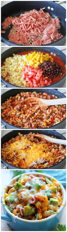 One Pot Mexican Skillet Pasta. (Substitute turkey, low fat cheese, and wheat pasta!)