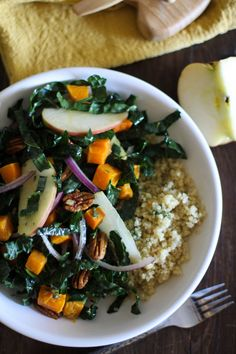 A delicious fall and winter kale salad recipe with roasted butternut squash, apples, pecans, and orange-sage dressing. Add cooked quinoa and it is an entree